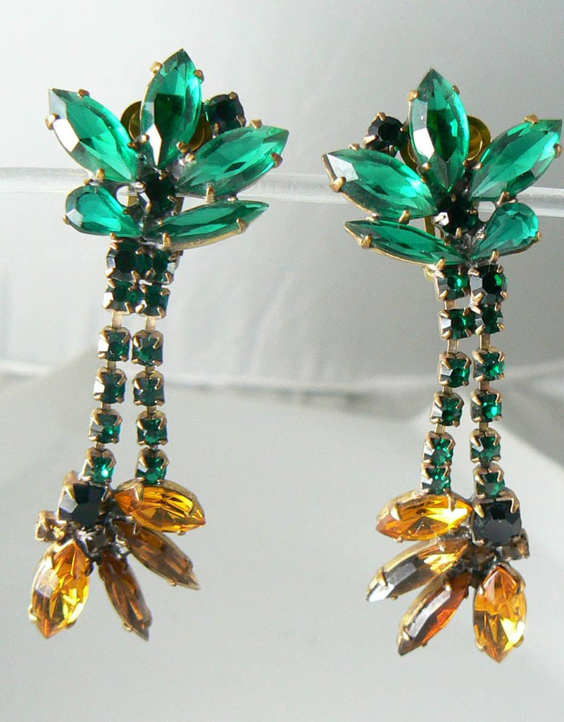 Czech Glass Sunflower Rhinestone Earrings - Vintage Lane Jewelry - 3