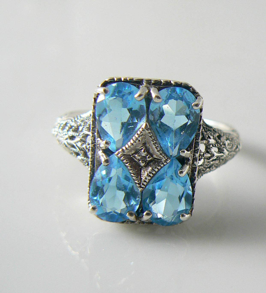Victorian Sterling Silver Blue Topaz Diamond Filigree Ring - Vintage Lane Jewelry