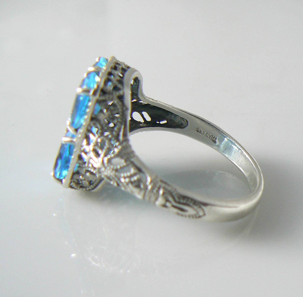 Victorian Sterling Silver Blue Topaz Diamond Filigree Ring - Vintage Lane Jewelry - 2