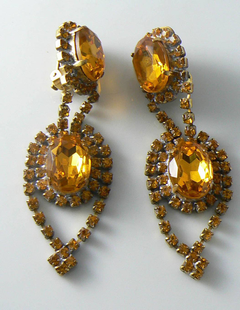 Gold Topaz Czech Glass Rhinestone Earrings - Vintage Lane Jewelry
