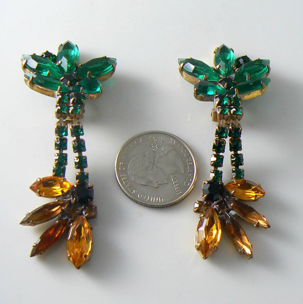 Czech Glass Sunflower Rhinestone Earrings - Vintage Lane Jewelry - 2