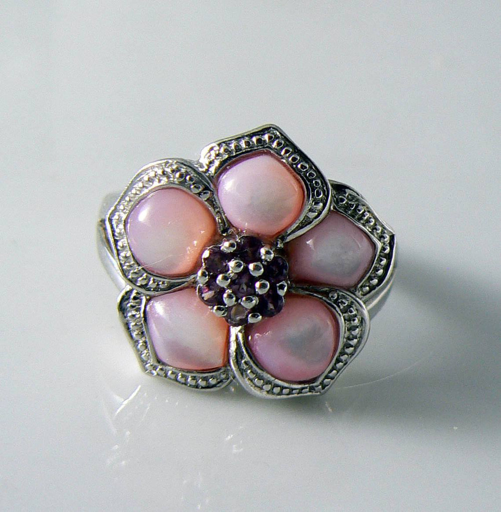 Affinity Sterling Silver Pink Mother Of Pearl Ruby Flower Ring - Vintage Lane Jewelry - 1
