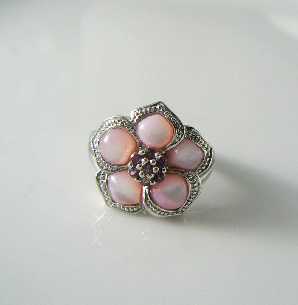 Affinity Sterling Silver Pink Mother Of Pearl Ruby Flower Ring - Vintage Lane Jewelry - 4