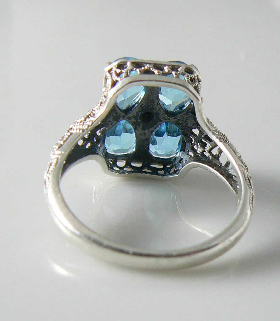 Victorian Sterling Silver Blue Topaz Diamond Filigree Ring - Vintage Lane Jewelry - 3