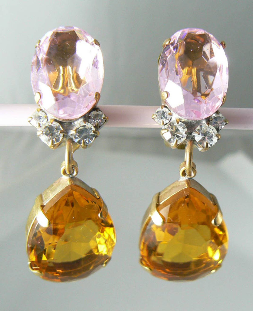 Czech Glass Amber And Pink Rhinestone Earrings - Vintage Lane Jewelry