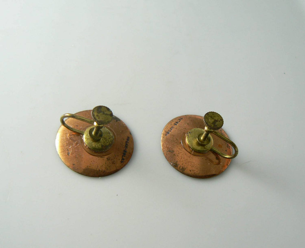 Hogan Bolas Enamel On Copper Earrings - Vintage Lane Jewelry