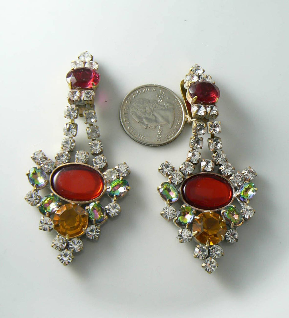 Czech Glass Red And Gold Rhinestone Earrings - Vintage Lane Jewelry