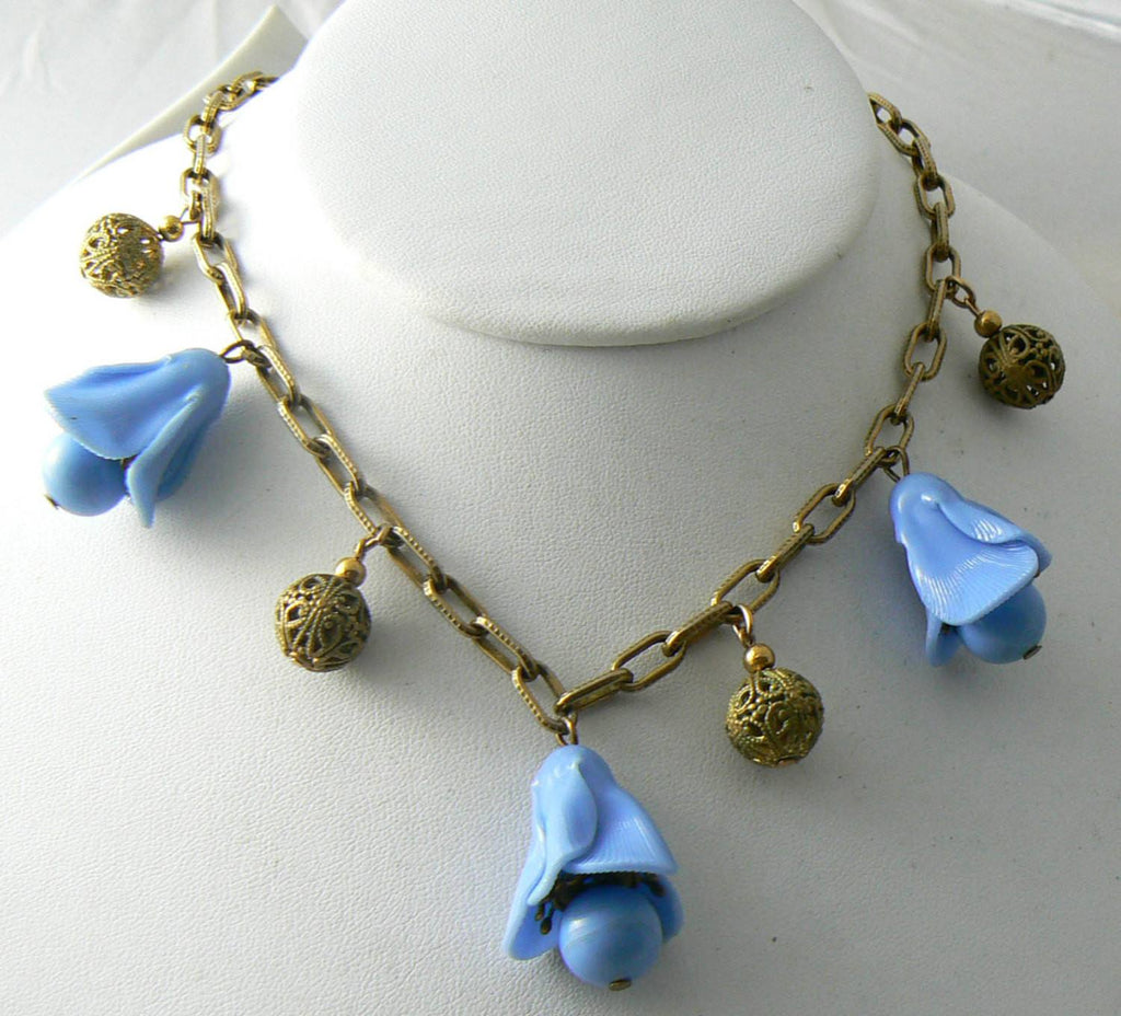 Vintage Plastic Blue Bells Drops & Brass Filigree Beads Necklace - Vintage Lane Jewelry