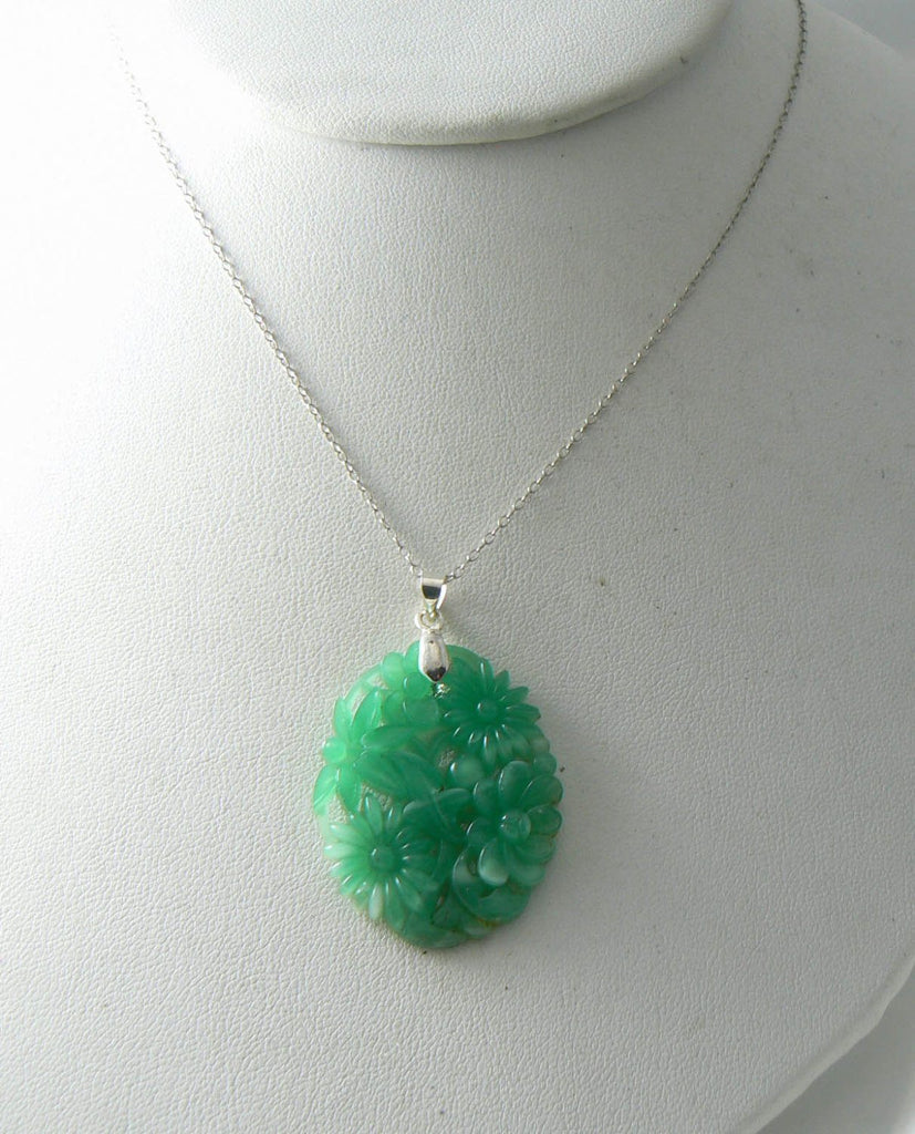 Vintage Jade Glass Floral Pendant, White G.f. Chain Necklace - Vintage Lane Jewelry - 1