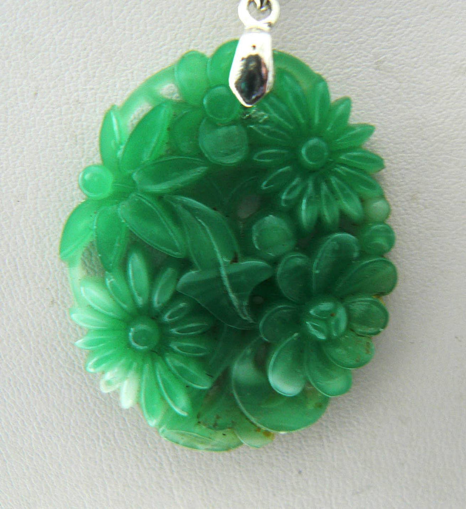 Vintage Jade Glass Floral Pendant, White G.f. Chain Necklace - Vintage Lane Jewelry - 2