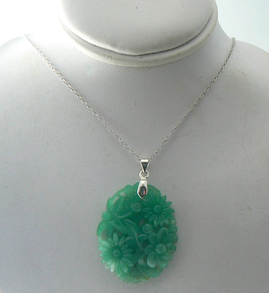 Vintage Jade Glass Floral Pendant, White G.f. Chain Necklace - Vintage Lane Jewelry - 4