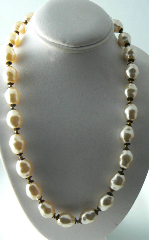 Signed Miriam Haskell Baroque Glass Pearl Necklace - Vintage Lane Jewelry