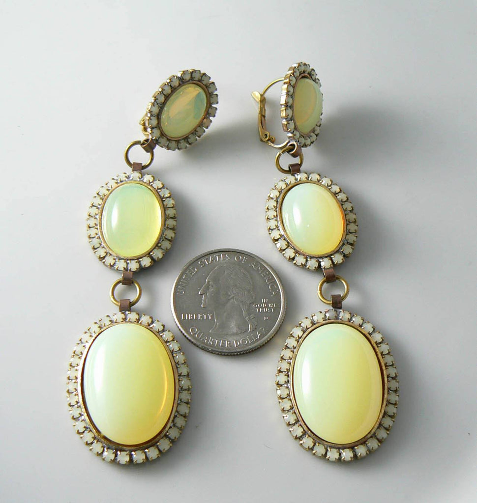 Large Pierced Style Czech Vaseline Uranium Glass Earrings - Vintage Lane Jewelry