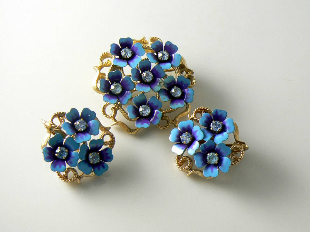 Vintage Avon Blue Enamel Metal Flowers Brooch Earrings - Vintage Lane Jewelry - 1