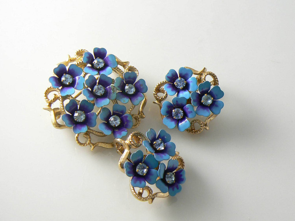 Vintage Avon Blue Enamel Metal Flowers Brooch Earrings - Vintage Lane Jewelry