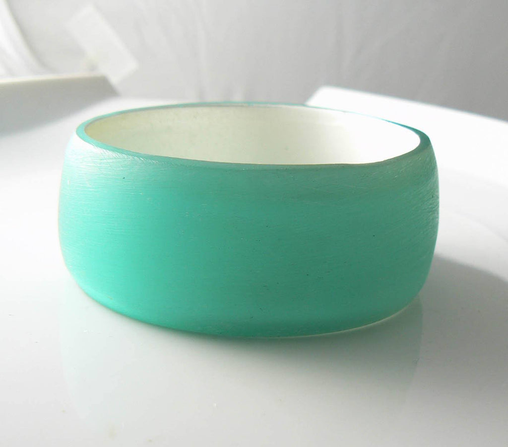 Vintage Frosted Aqua-blue Lucite Bangle Bracelet - Vintage Lane Jewelry