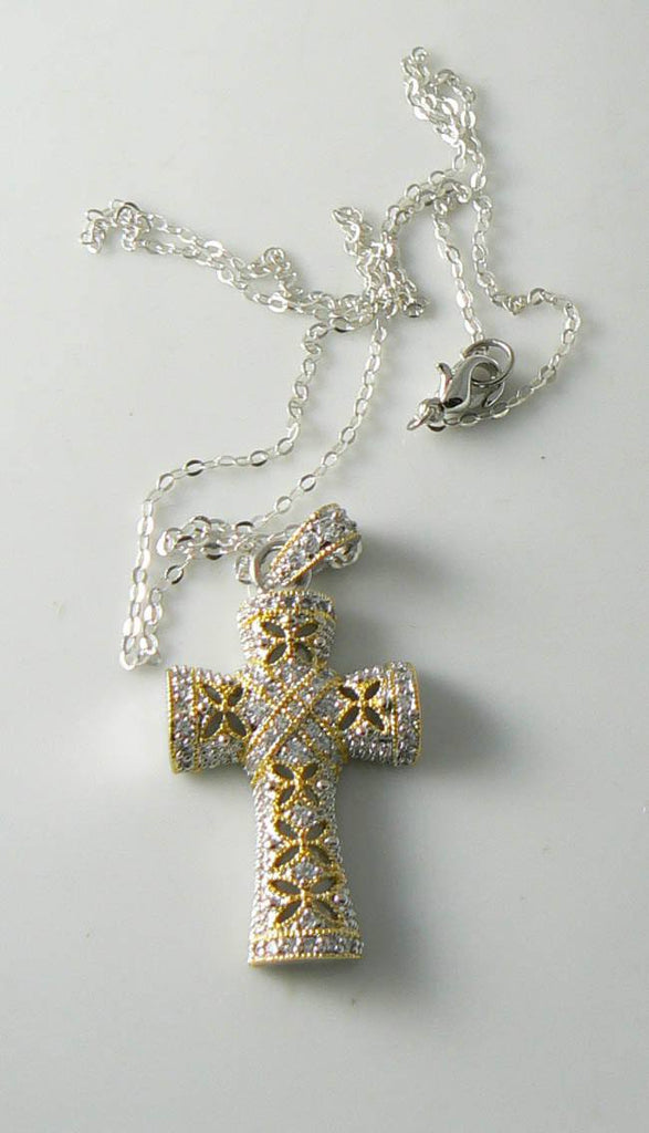 Elegant Cubic Zirconia Cross Pendant And Sterling Chain - Vintage Lane Jewelry