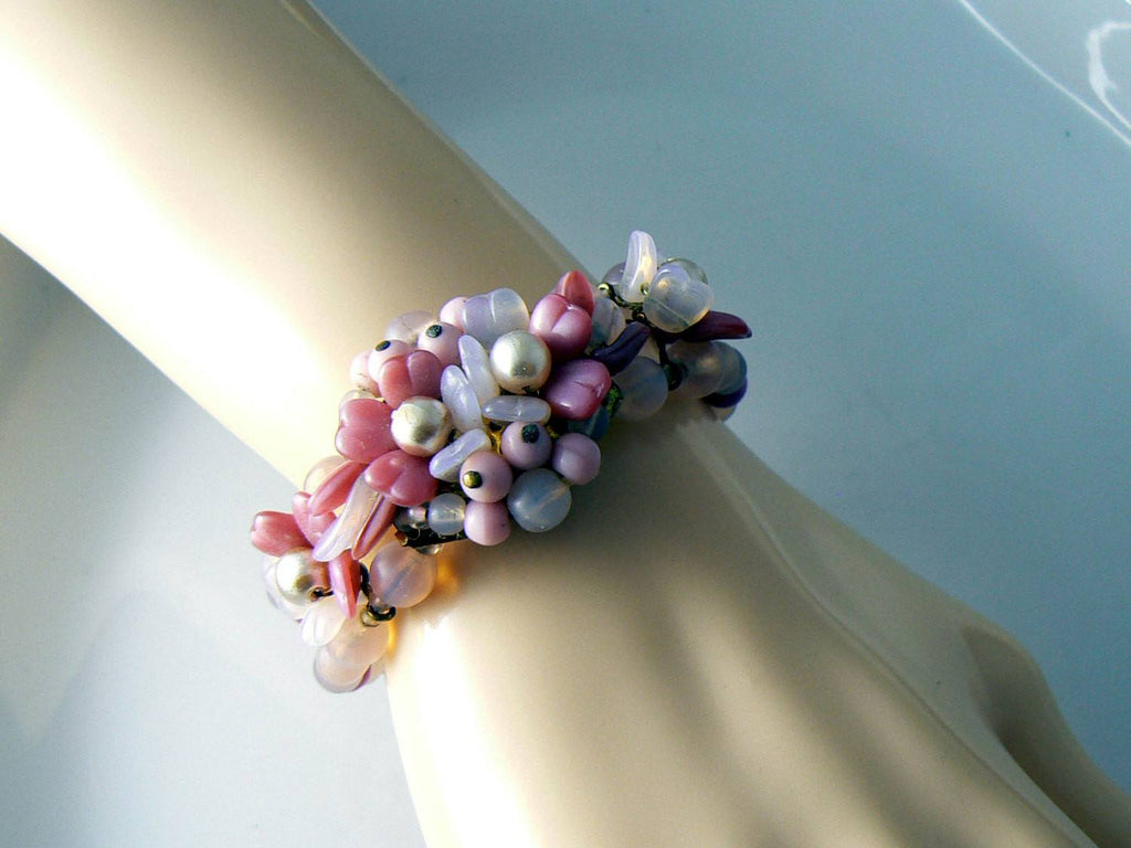 Haskell Era Germany Pink Glass And Faux Pearl Bracelet - Vintage Lane Jewelry