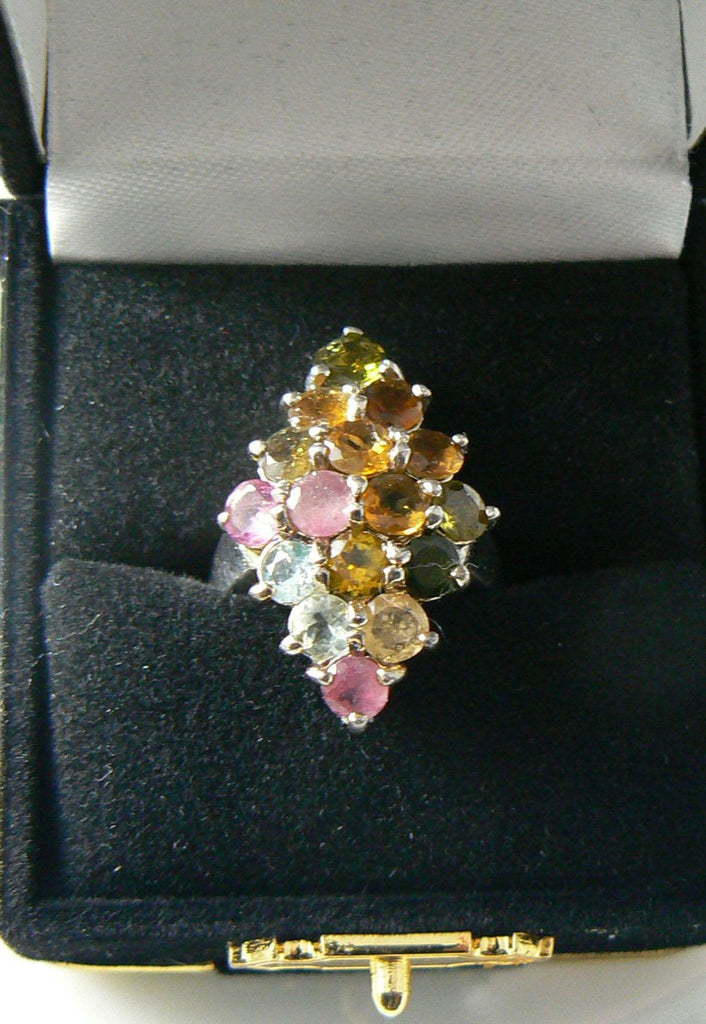 Sterling Silver 5ct Tourmaline Cluster Cocktail Ring - Vintage Lane Jewelry