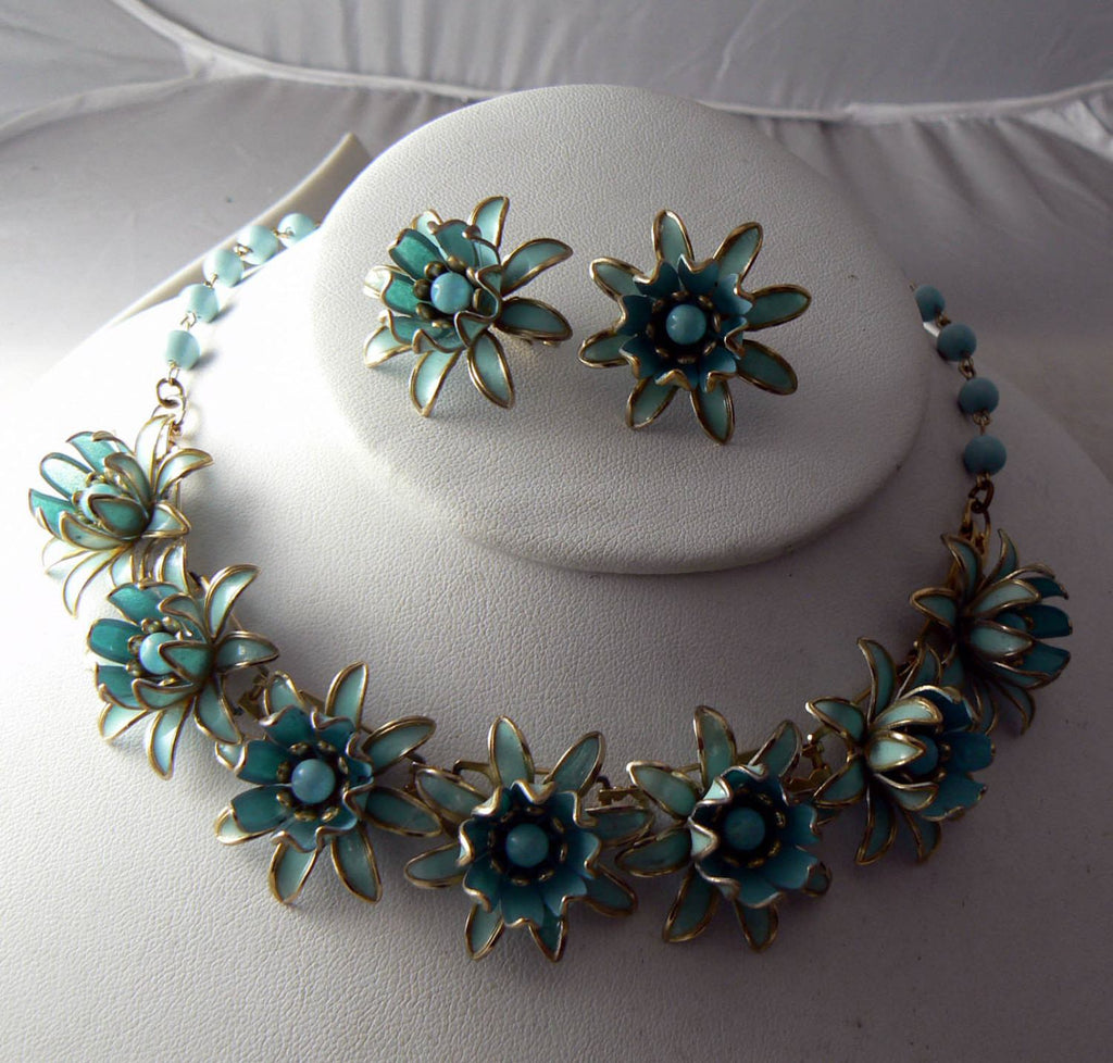 Vintage Estate Robin Egg Blue Enamel Flower Demi Parure Necklace Set - Vintage Lane Jewelry - 2