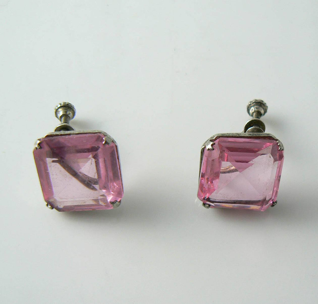 Vintage Sterling Silver Pink Rhinestone Earrings - Vintage Lane Jewelry