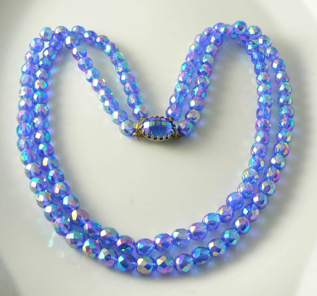 Vintage Double Strand Blue Iridescent Crystal Necklace - Vintage Lane Jewelry
