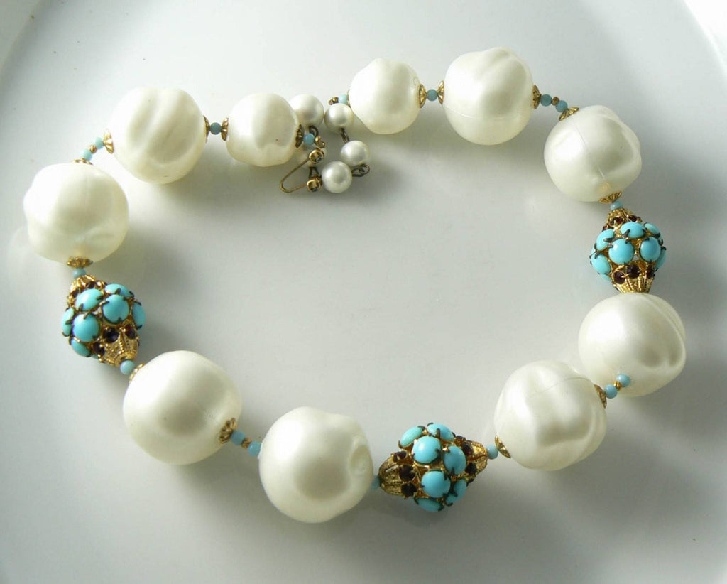 Marvelous Marvella Chunky Faux Pearl, Turquoise, And Rhinestone Necklace - Vintage Lane Jewelry
