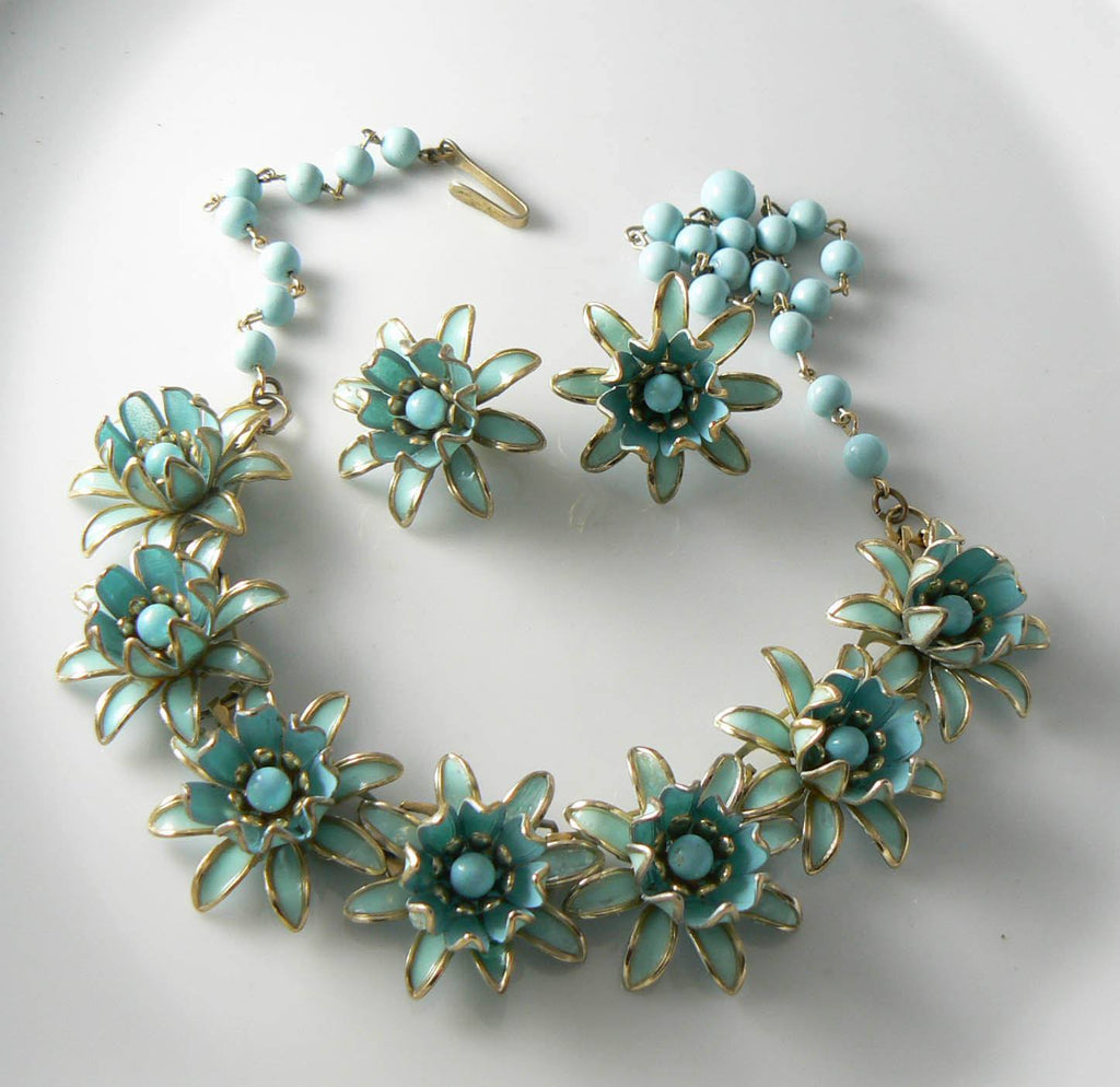 Vintage Estate Robin Egg Blue Enamel Flower Demi Parure Necklace Set - Vintage Lane Jewelry - 1