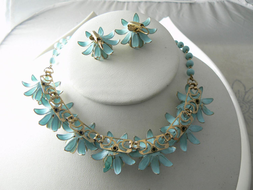 Vintage Estate Robin Egg Blue Enamel Flower Demi Parure Necklace Set - Vintage Lane Jewelry - 3