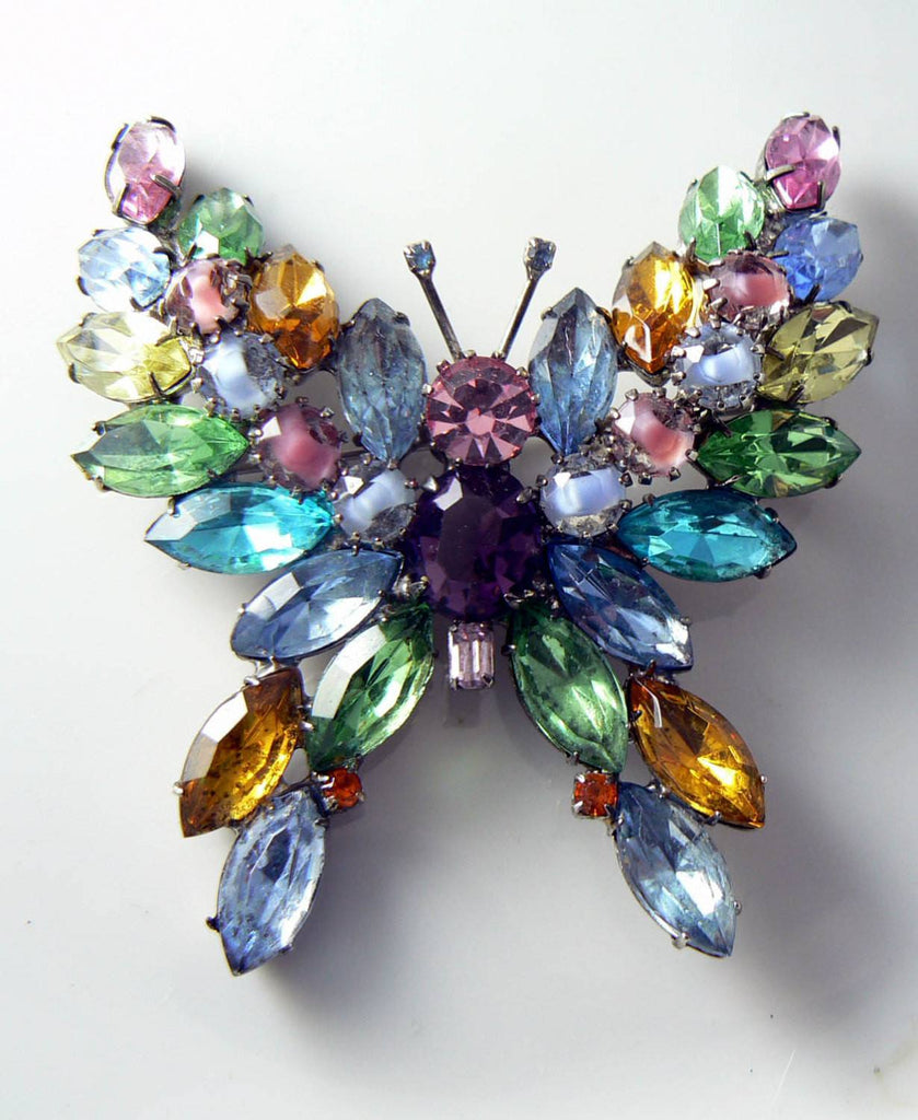 Kenneth J Lane Colorful Rhinestone Butterfly Brooch - Vintage Lane Jewelry