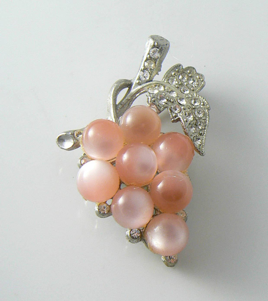 1940's Coro Pink Moonglow Lucite Beads Grape Cluster Brooch - Vintage Lane Jewelry