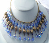 Beautiful Dangling Blue Glass Crystal Vintage Festoon Necklace - Vintage Lane Jewelry