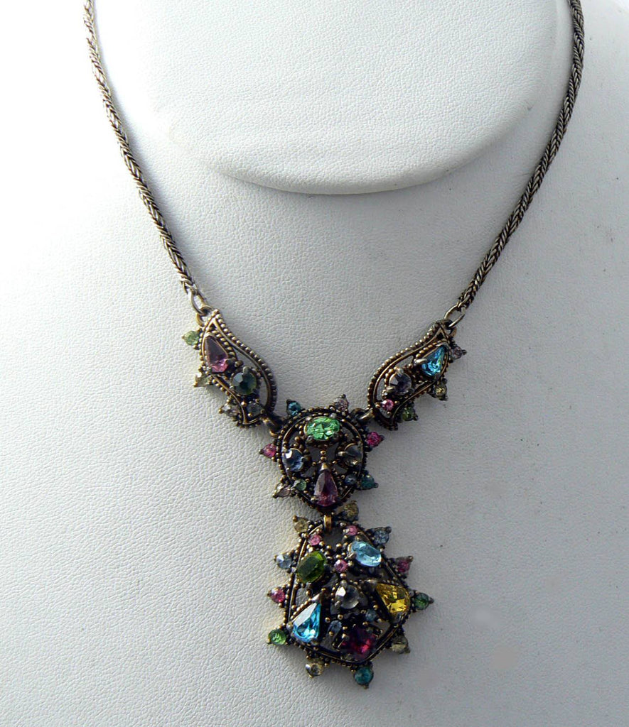 Vintage Signed Hollycraft 1951 Pastel Rhinestone Crystal Necklace - Vintage Lane Jewelry