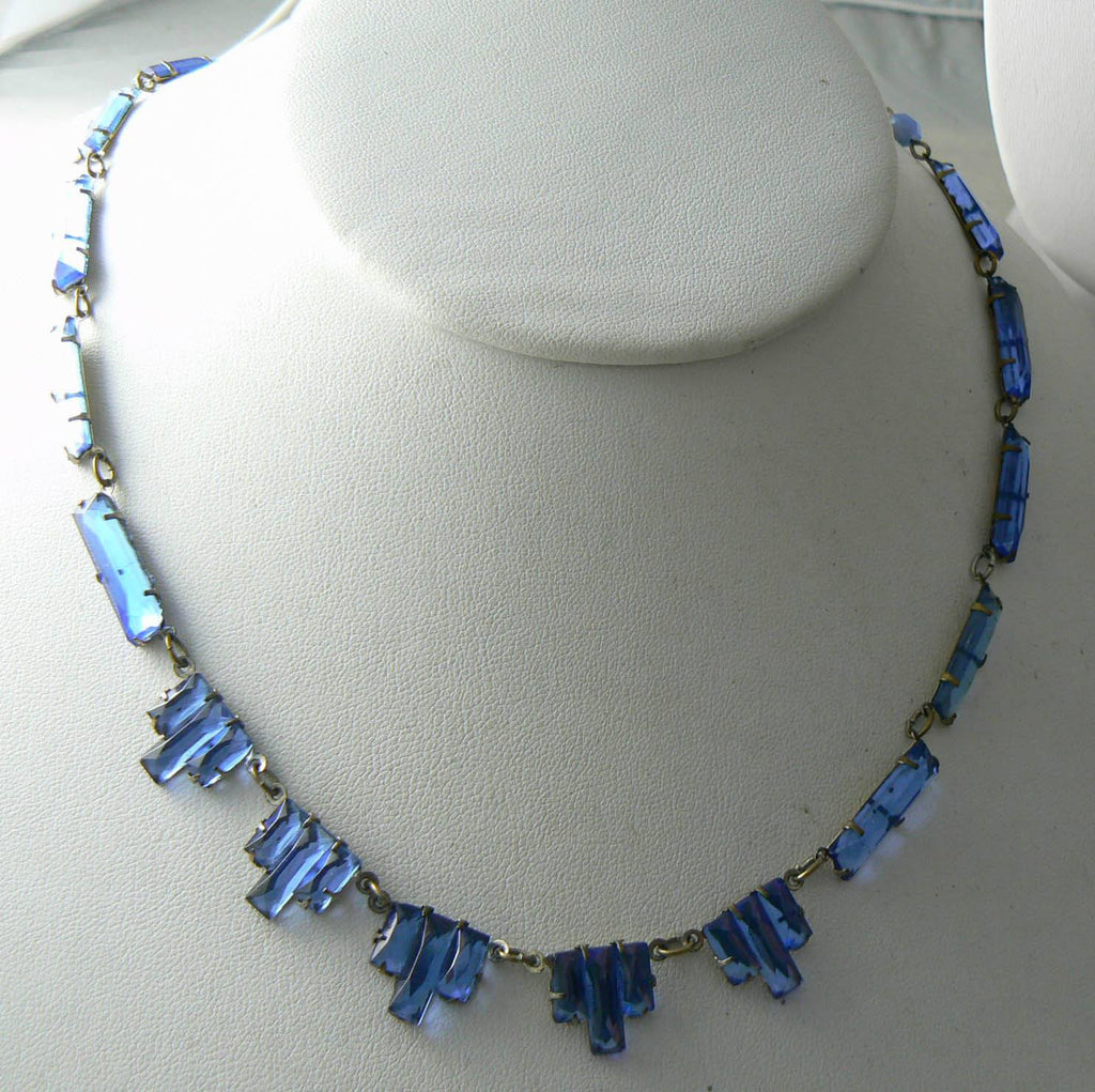 Vintage Art Deco Cornflower Blue Step Glass Necklace - Vintage Lane Jewelry