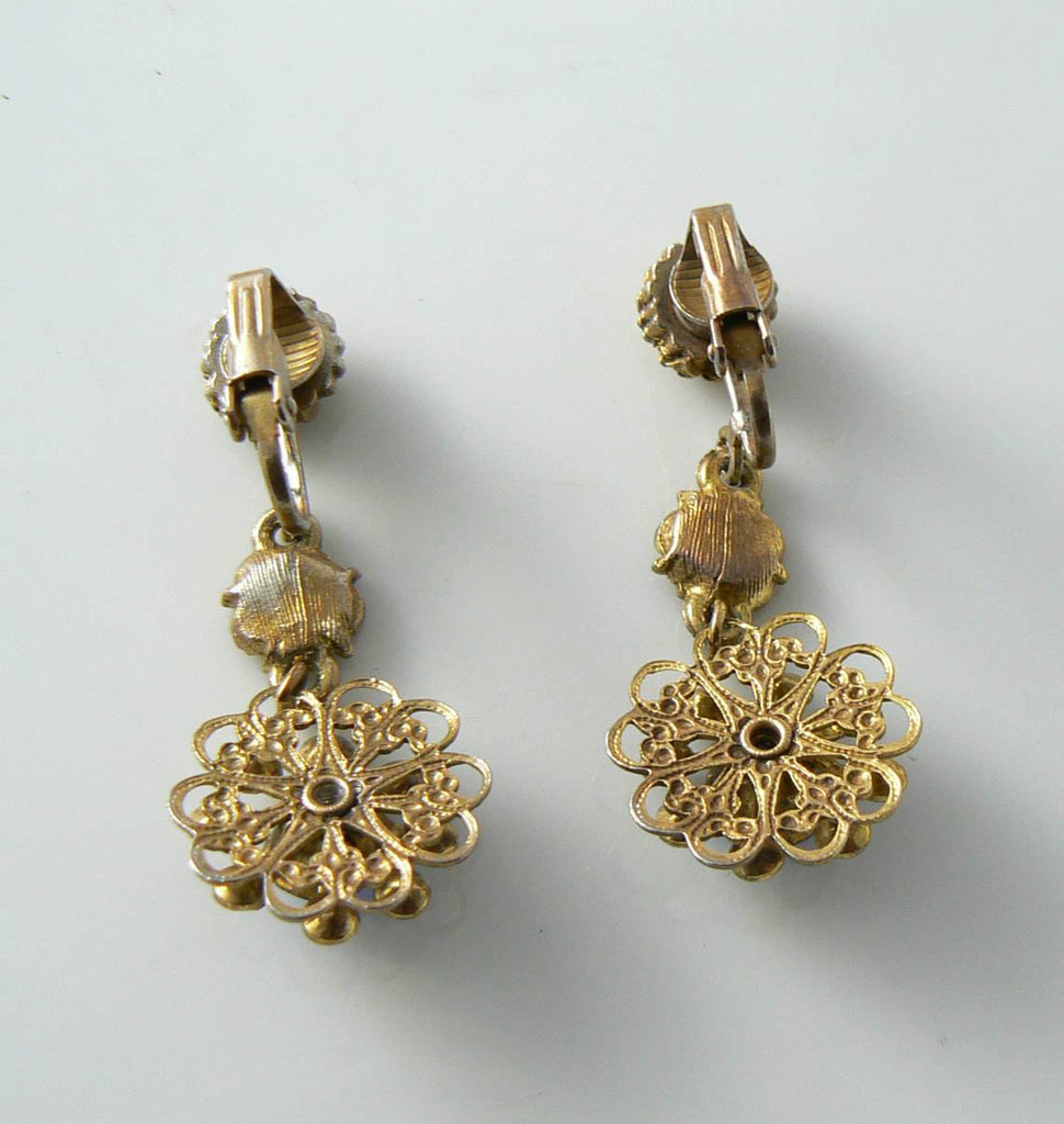 Vintage Dangling Sapphire-blue Rhinestone Flower Earrings - Vintage Lane Jewelry