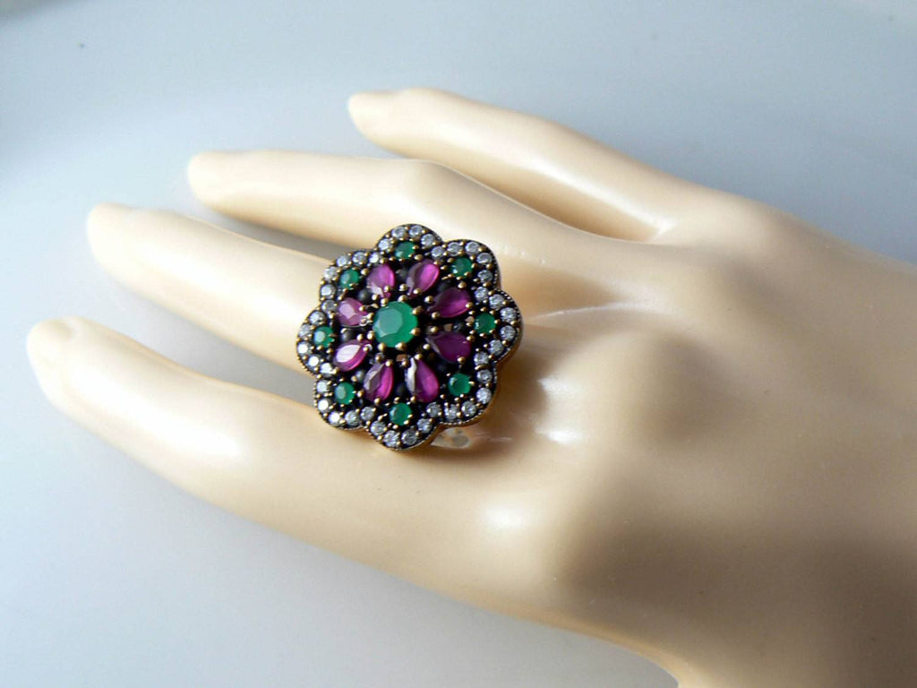 Art Deco Rose Gold Sterling Emerald, Ruby And White Sapphire Ring - Vintage Lane Jewelry