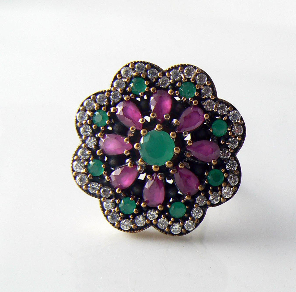 Art Deco Rose Gold Sterling Emerald, Ruby And White Sapphire Ring - Vintage Lane Jewelry - 1