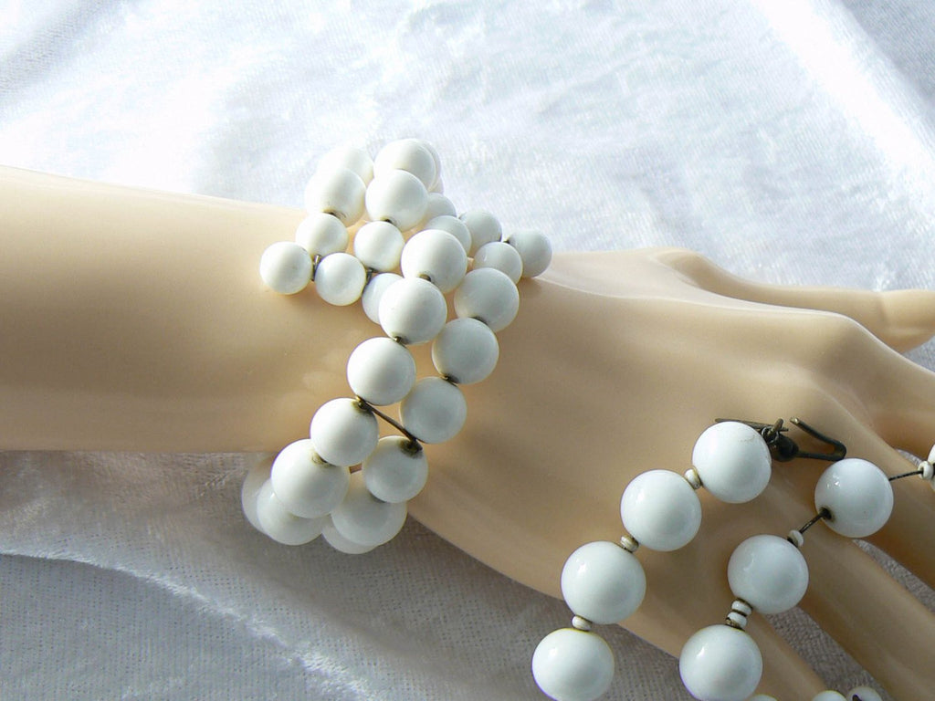 Miriam Haskell White Beaded Memory Coil Bracelet And Necklace Set - Vintage Lane Jewelry