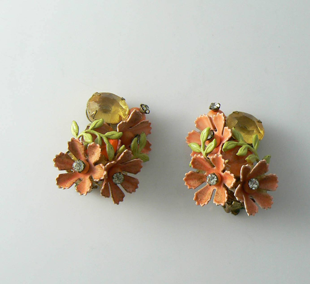 Vintage Early Miriam Haskell Enameled Flower Rhinestone Earrings - Vintage Lane Jewelry