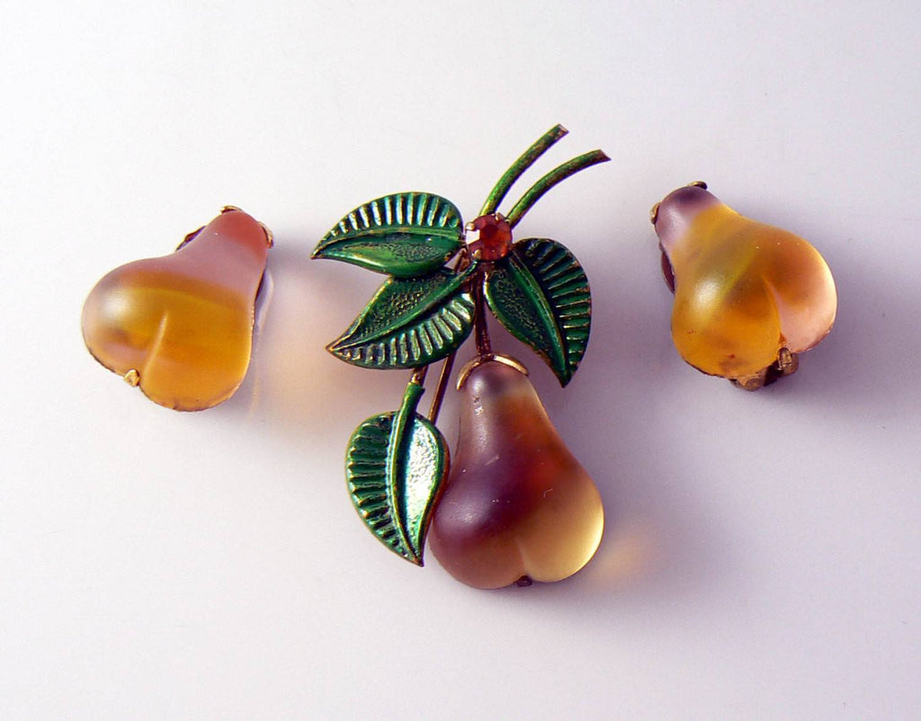 Austria Crystal Pear Fruit Pin And Earrings - Vintage Lane Jewelry