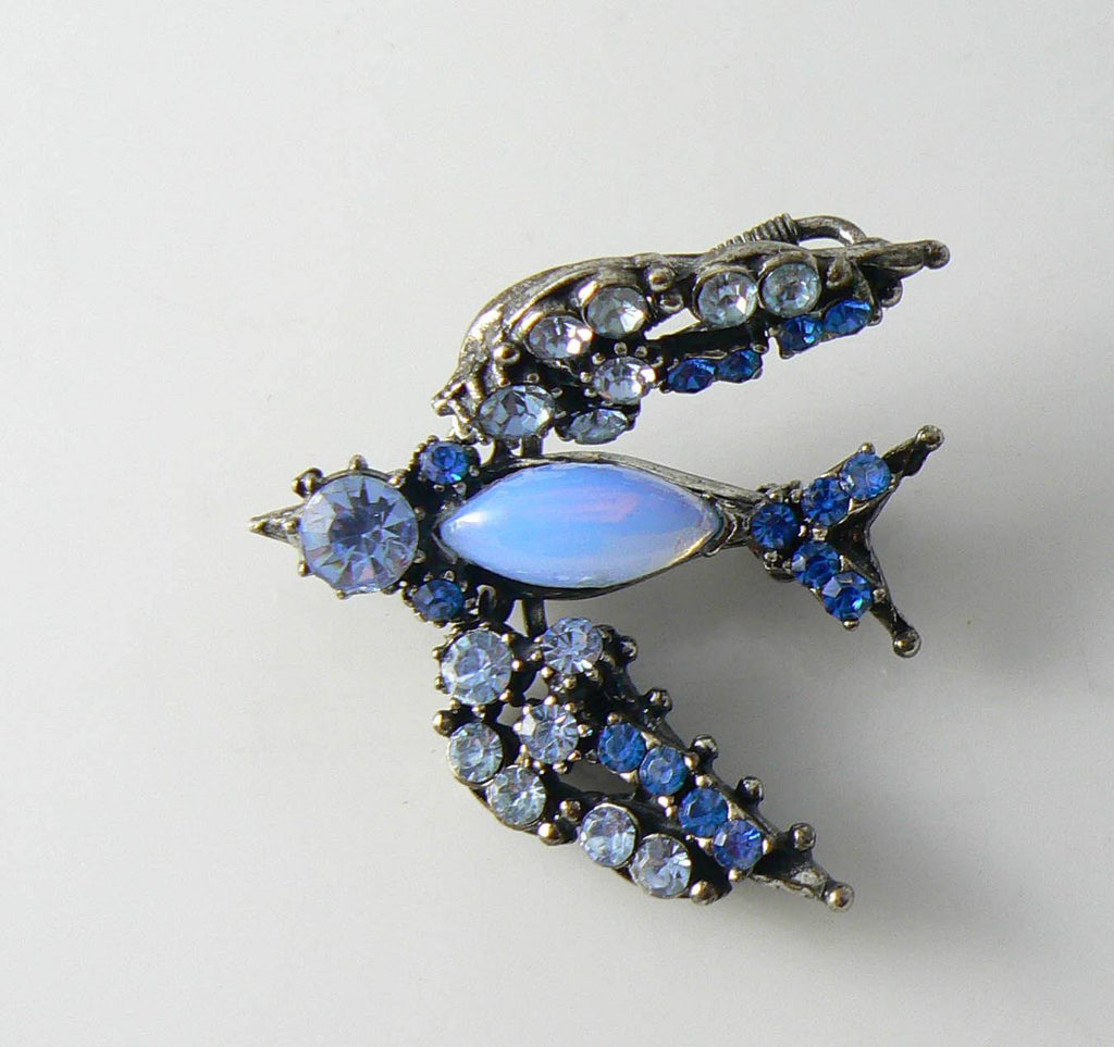 Florenza Blue Rhinestone Trembler Bird Pin - Vintage Lane Jewelry