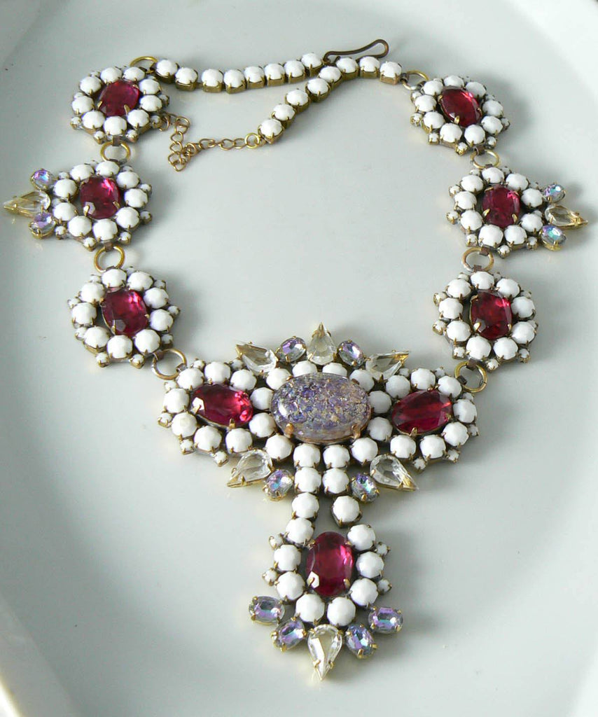Czech Ruby Red And White Glass Statement Necklace - Vintage Lane Jewelry