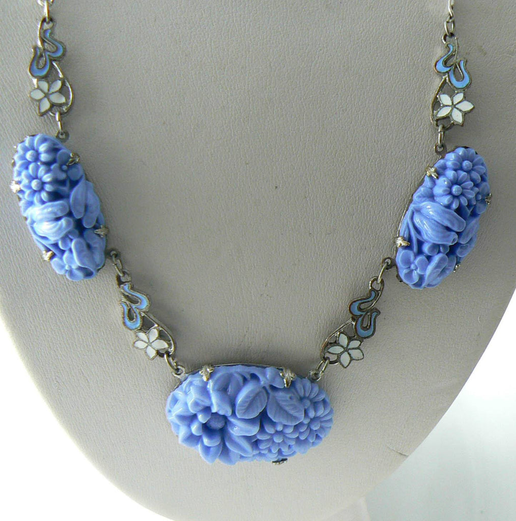 Art Deco Blue Molded Glass With Enamel Flowers Vintage Necklace - Vintage Lane Jewelry - 1