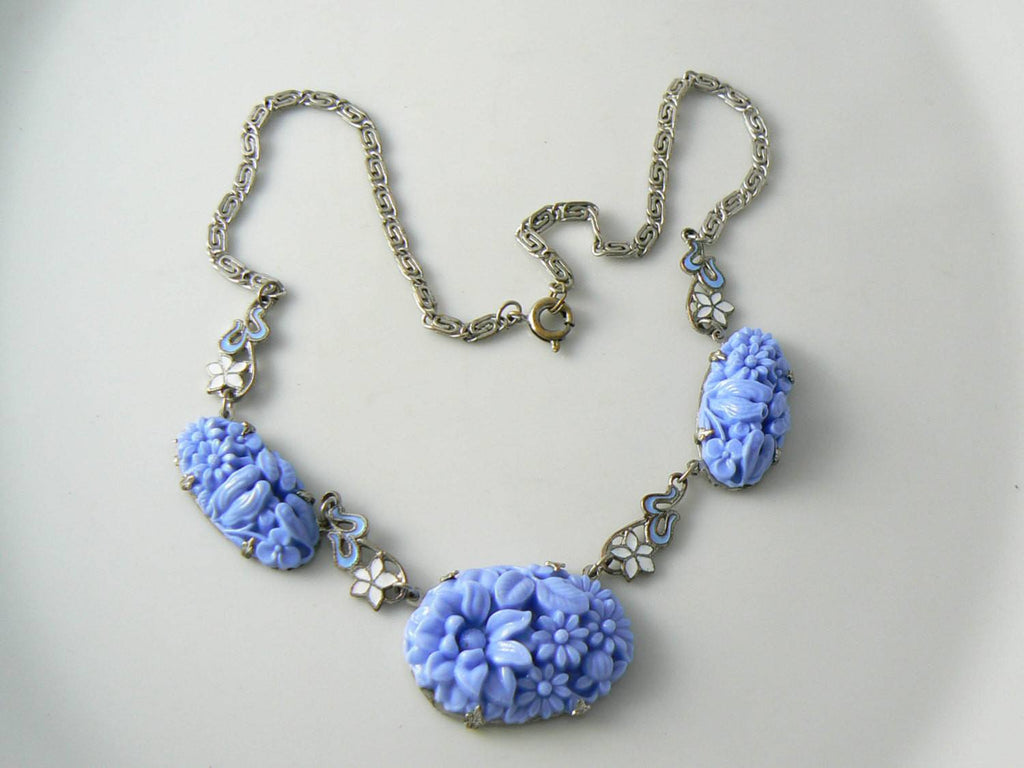 Art Deco Blue Molded Glass With Enamel Flowers Vintage Necklace - Vintage Lane Jewelry