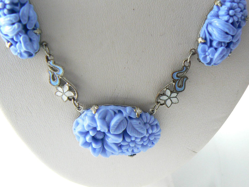 Art Deco Blue Molded Glass With Enamel Flowers Vintage Necklace - Vintage Lane Jewelry - 4