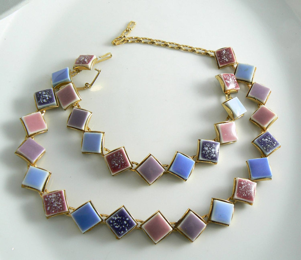 Vintage Art Deco Pastel Mosaic Tile Book Chain Necklace And Bracelet - Vintage Lane Jewelry