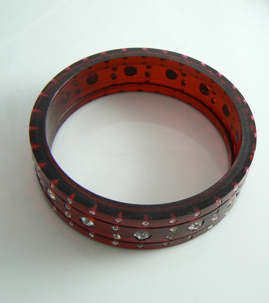 Vintage Cherry Juice Prystal Edge Cut Triple Bakelite Bangle with Rhinestones - Vintage Lane Jewelry