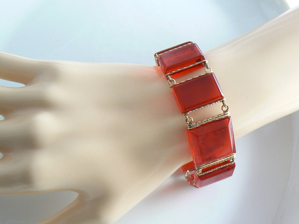 Vintage Gold Filled Red Lucite Panel Necklace Bracelet Earrings - Vintage Lane Jewelry