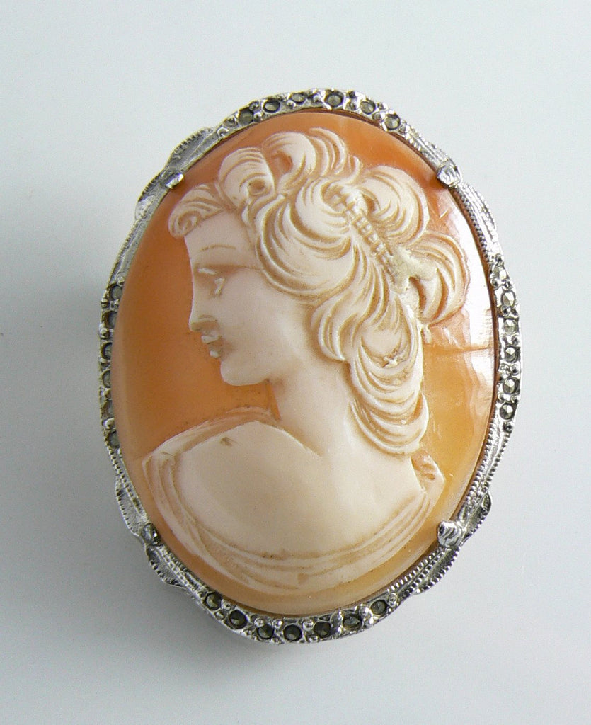 Vintage Hollywood Hand Carved Shell Marcasite Cameo - Vintage Lane Jewelry