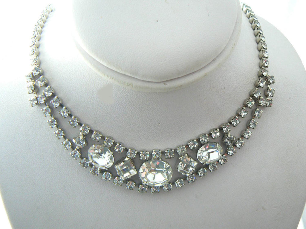 deco kc rhinestone ruby coro clear lane choker item era necklace kitsch couture